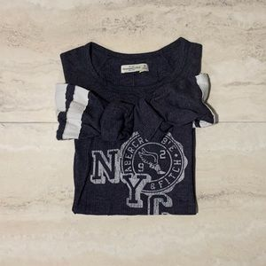 💟Abercrombie & Fitch Blue Logo Thermal Top